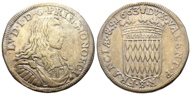 No. 468 – Monaco. Louis I, 1662-1701. 1/2 écu ( = 30 sols), 1663. Unpublished. Very fine +. Estimate: 30,000 euros.