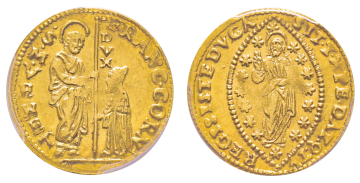 No. 1425 – Venice. Francesco Corner, 1656. Sequin. Extremely rare. PCGS MS62 (the most beautiful graded specimen). Estimate: 25,000 euros.