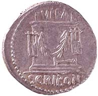 Denarius of L. Scribonius Libo. From Wyprächtiger Collection. MoneyMuseum, Zurich. ROMAN REPUBLIC. Lucius Scribonius Libo. Denarius, 62. BON. EVENT ? LIBO Head of Bonus Eventus with broad fillet r. Rev. PVTEAL / SCRIBON Puteal Scribonis, decorated with kitharas and garlands; hammer below. Cr. 416/1. Syd. 928.