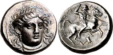 Pherai (Thessaly). Alexander, tyrant 369-358. Head of Ennodia en face. Rev. Alexander riding r. From BCD Coll., auction Nomos AG 4 (2011), 1309