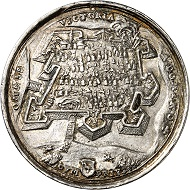 Silver medal by V. Maler on the reconquest of the fortress of Raab on March 29, 1598. From Künker auction 316 (January 31, 2019), No. 525. Price: 1,000 euros.