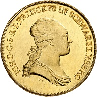 Johann Nepomuk of Schwarzenberg, 1782-1789. 10 ducats 1783, Vienna. From Künker auction 316 (January 31, 2019), No. 561. Price: 25,000 euros – with section of coat of arms: raven pecking out the eyes of a severed head of a Turk.