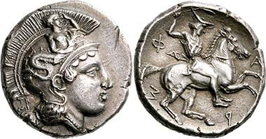 Pharsalos (Thessaly). Drachm, signed by Telephantos, late 5th to middle of 4th cent. B. C. Head of Athena r. Rev. Thessalian rider, flinging the lagobolon. From BCD Collection, auction Nomos AG 4 (2011), 1288.