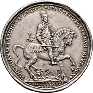Silver medal by M. Sock, Kremnica, on the reconquest of Esztergom on September 7, 1595. Obverse Archduke Matthias with baton, riding to the right. From Künker auction 317 (February 5, 2019), No. 1689. Price: 500 euros.