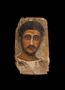 No. 50: Mummy portrait. Egypt, 3rd cent. A. D. Portrait of a young man with curly hair and beard. 34.5 x 21. cm. Estimate: 18,000 Euros. Price realized: 69,000 Euros.