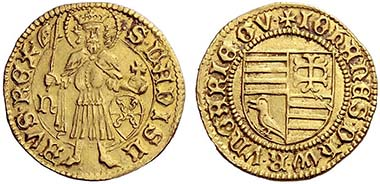 No. 615: HUNGARY. John Hunyadi (Gubernator) (1446 - 1453) Gold gulden n.d. (1446 - 1447), Nagybanya. Saint Ladislaus with battleaxe and imperial orb between mintmarks. Rev. Four-part coat of arms (Hungary/Hunyadi) in border of dots. Pohl G 1-1, Huszar 615. Hammer price: 9,500 Euros.