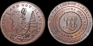 Lot 213: Middlesex 290. London, Piccadilly. London Corresponding Society. AE Halfpenny. Estimate: $850.