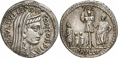L. Aemilius Paullus. Denarius, 62. Concordia. Rev. Aemilius Paullus with trophy, captured Perseus with his sons in front of it. Gorny & Mosch 191 (2010), 1981.