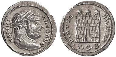 Maximianus Herculius. Argenteus, Thessaloniki, 302. Rev. Storehouse door. From auction Lanz 135 (2007), 932.