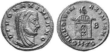 Divus Galerius. Follis, 311, Thessalonika. Rev. sepulchral building with dome roof, eagle above. From auction Lanz 109 (2002), 841.