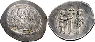 Alexios I Komnenos. Aspron Trachy, Thessaloniki, 1082-1087. Rev. St. Demetrios and emperor. From auction Peus 401 (2010), 756. Photograph: KW.