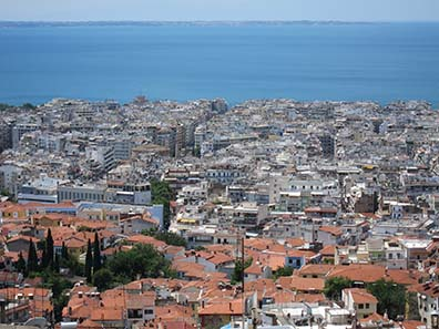 View at Thessaloniki from the upper town. Photograph: KW.
