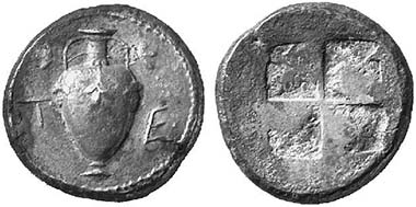 Terone. Tetradrachm, around 480. Oinochoe with vines. From auction Künker 94 (2004), 633.