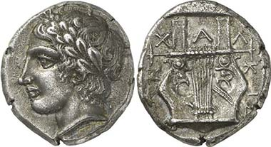 Chalkidian League. Tetradrachm, Olynth, c. 410. Apollon. Rev. Kithara. From auction Gorny & Mosch 195 (2011), 123.