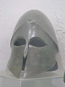 Helmet from the Lambropoulos Collection. Photograph: KW.