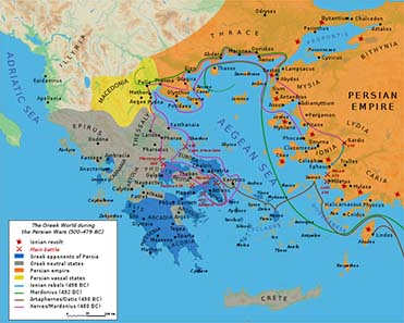 Map of Greece at the times of the Persian Wars. Bibi Saint-Pol / Wikipedia.