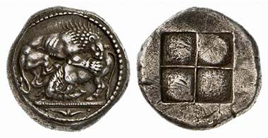 Akanthos. Tetradrachm, 530-480. Lion slaying a bull. Rev. Quadratum incusum. From auction Künker 104 (2005), 148.