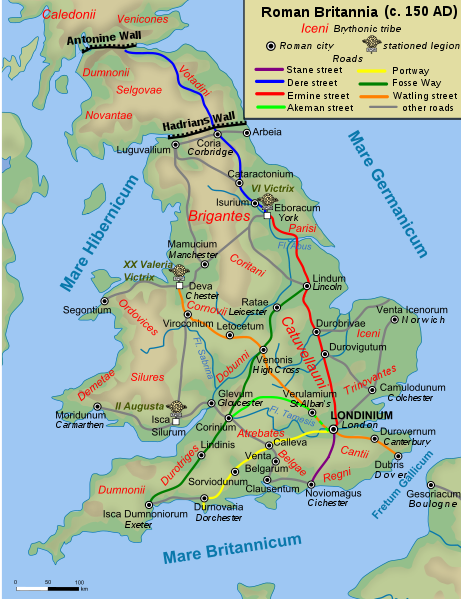 Map of Roman Britain. Source: Wikipedia.