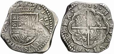 Spanish 8 reales piece from the 17th cent. From auction Künker 165 (March 8, 2010), 1115.