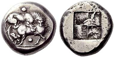 Stageira. Tetradrachm, c. 520-500. Lion slaying a boar. Rev. Quadratum Incusum. From auction NAC 52 (2009), 96.