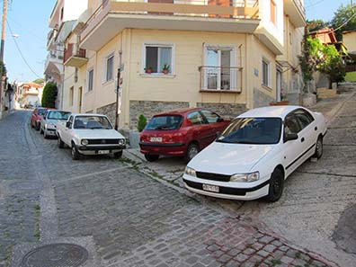 Parking Greek style. Photograph: KW.