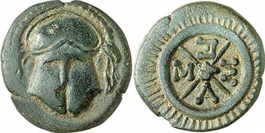 Mesembria. AE, c. 450-350. Corinthian helmet. Rev. Wheel with four spokes. From auction Gorny & Mosch 191 (2010), 1175.