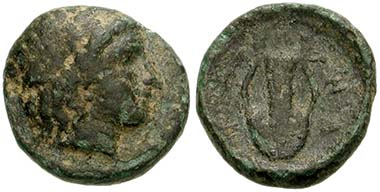 Zone. Bronze, around 350. Head of Apollon. Rev. Lyra. From acution CNG 145 (2006), 49.