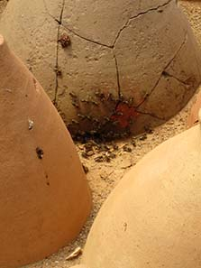 An ancient amphora re-used as modern beehive. Photograph: KW.