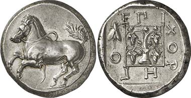 Maroneia. Stater, 386-347. Horse jumping up. Vine stock, surrounded by an official?s name and a cicada. From auction Gorny & Mosch 195 (2011), 107.