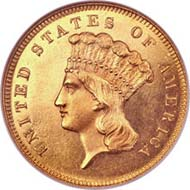1855-S Proof Three Dollar Gold Piece. PR65 Cameo.
