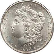 Morgan Silver Dollar 1893-S. MS67.