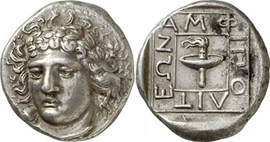 Amphipolis. Tetradrachm, c. 369/8 B. C. Apollon. Rev. race torch. From auction Gorny & Mosch 190 (2010), 117.