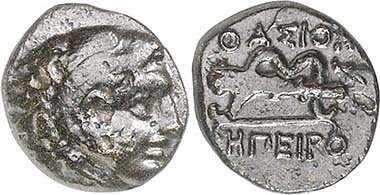 Krenides. AE, 360-356. Herakles. Rev. club and bow. From auction Gorny & Mosch 191 (2010), 1240.