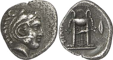 Philippi. Hemidrachm, 356-345. Head of Herakles. Rev. tripod. From auction Gorny & Mosch 195 (2011), 125.