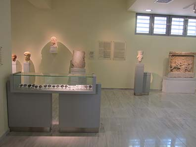 The showcase for coins in the Philippi Museum. Photograph: KW.
