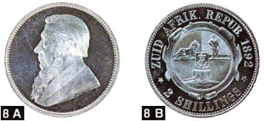 Pic. 4: Zuid Afrikaansche Republiek. Paul Kruger, 1883-1902. 2 shilling in silver.