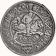 Archduke Sigismund of Tyrol. Half guldiner 1484, Hall, moneyer: Bernhard Beheim the Older, die cutter Wenzel Kröndl. From sale LHS 95 (2005), 266.