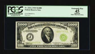 Lot 16875. Fr. 2221-J $5000 1934 Federal Reserve Note. PCGS Apparent Extremely Fine 45. Realized: 132,250.