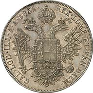 Konventionsthaler 1851 A, Vienna. J. 290. From Künker sale 195 (September 28, 2011), 4395. About brilliant uncirculated. Estimate: 5,000 Euros. - The konventionsthaler were uncommon in the domestic Austrian payments. They were minted for accumulation and the foreign trade.