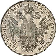Konventionsthaler 1848 A, Vienna. J. 290. From Künker sale 195 (September 28, 2011), 4393. About brilliant uncirculated. Estimate: 5,000 Euros. - The extremely rare coinage - known are 10 pieces each with the years 1848, 1849, 1850, 1851 and 1852 - showing the portrait of the emperor to the left were all produced as patterns in 1852. Because the emperor didn?t like his portrait, this type wasn?t issued. The coins were given to the emperor, public coin cabinets and high-ranking private individuals.