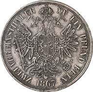 Double vereinsthaler 1866 A, Vienna. J. 317. From Künker sale 195 (September 28, 2011), 4443. About extremely fine. Estimate: 600 Euros. - The double vereinsthaler after the Vienna Coinage Contract were allowed to circulate in all countries involved.