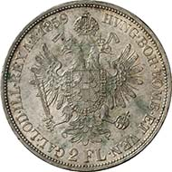 Double gulden, 1859 B, Kremnitz. J. 329. From Künker sale 195 (September 28, 2011), 4445. Extremely fine. Estimate: 150 Euros. - One Austrian double gulden after the Vienna Coinage Contract equated 2/3 Prussian thaler.