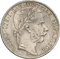 Gulden 1867 E, Karlsburg. J. 335a. From Künker sale 195 (September 28, 2011), 4536. Extremely fine to brilliant uncirculated. Estimate: 20,000 Euros. - This specimen from Transylvanian Karlsburg (Alba Iulia) is the rarest silver coin of the gulden currency.
