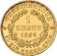 Vereinskrone 1864 A, Vienna. J. 315. From Künker sale 195 (September 28, 2011), 4174. Extremely fine to brilliant uncirculated. Estimate: 7,000 Euros. - The vereinskrone of 10 g wasn't very popular: compared to the silver coin, it had no fixed exchange rate and a different standard than the popular French franc. No wonder than this emission from 1864 consisted of 1,530 specimens only.