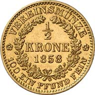 1/2 vereinskrone 1858 V. Venice. J. 314. From Künker sale 195 (September 28, 2011), 4176. Extremely fine. Estimate: 25,000 Euros. - Even more unpopular was the half vereinskrone. This specimen wasn?t minted in Vienna but in Venice with a mintage of 947 pieces.