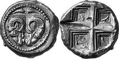Delphi. Tridrachm, around 475. Two rhyta, two dolphins above. Rev. Ceiling of a temple, dolphin and laurel wreath within. From auction Leu Numismatik AG 81 (2001), 199.