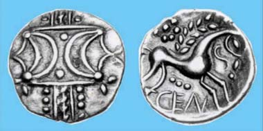 The cuspate moon-crown first seen on Carl's Crown reappears decades later in a simpler, more stylised form on inscribed silver coins of the Iceni c. AD 10-43. Source: Chris Rudd.