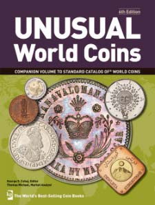 Tom Michael & George Cuhaj (ed.), Unusual World Coins. Krause Publishing, 6th edition, 744 pages, 7000 b/w illustrations. ISBN 978-1440217029. Paperback. $54.99.