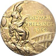 Gold medal of the Olympic Games 1952 in Helsinki from the possession of László Budai. The item will be auctioned off on November 22, 2011, at the company Rapp in Wil and is estimated at CHF 4,000 to 6,000.