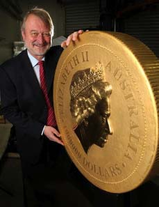 Perth Mint Chief Executive Officer, Ed Harbuz, presents the worlds biggest, heaviest, and most valuable gold bullion coin in the world.